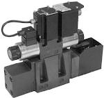 Elővezérelt útszelep arányos mágnessel CETOP P05, R05, 07, 08, 24VDC, ráépített elektronikával, visszacsatolással